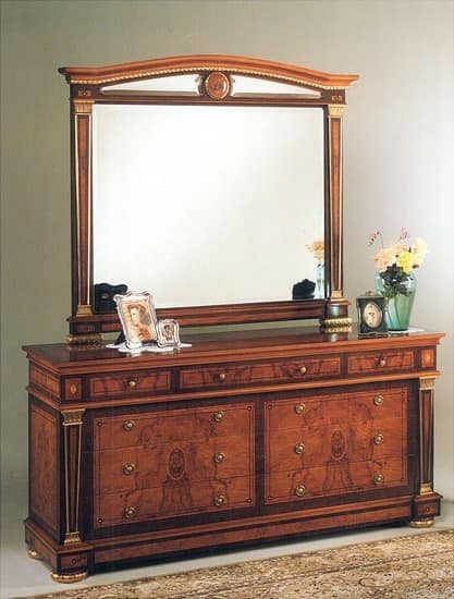 IMPERO / Double chest with 6 drawers , Classic style chest of drawers, in burr ash