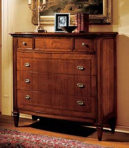 Intra chest of drawers, Classic walnut dresser with marble top