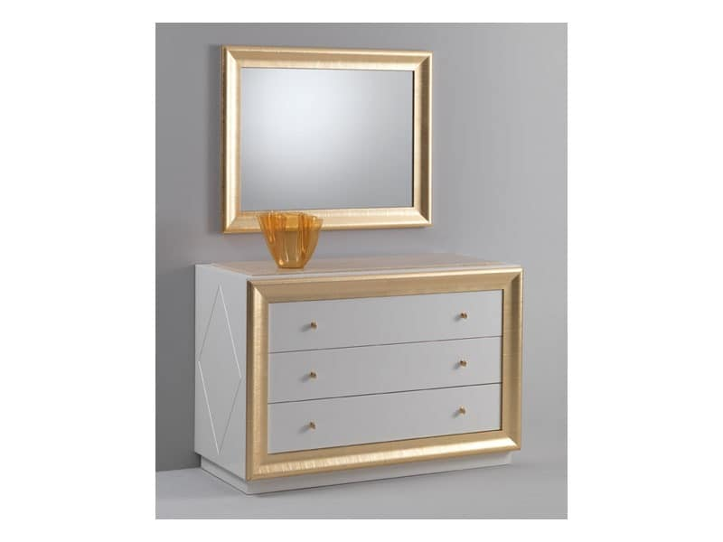 Jolie chest of drawers, Chest of drawers with a classic design, glossy lacquered finish, gold leaf decorations
