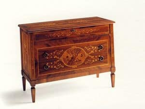 Keats, Classic dresser with three drawers, made of spruce