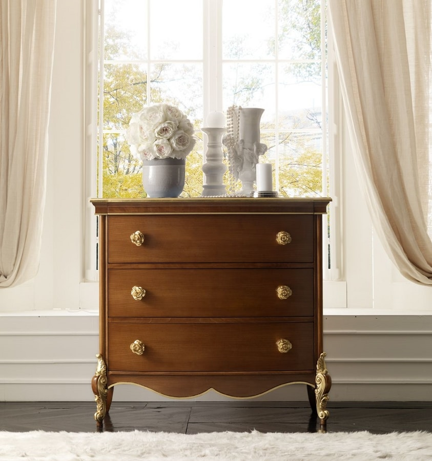 Liò walnut chest of drawers, Dresser for classic style bedrooms
