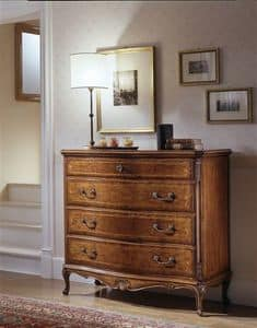 M 708, Walnut chest of drawers, with carvings, focused shades