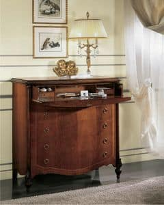 Mimosa flap, Chest of drawers with flap door and s�cretaire, polished with wax