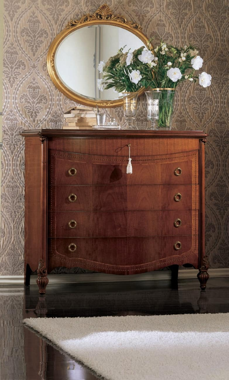 Mimosa comò, Chest of drawers with curved front and ring handles