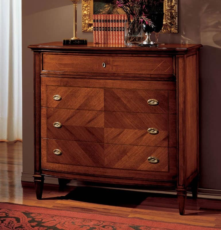 Minoa chest of drawers, Chest of drawers in walnut, interlocking in swallow nest