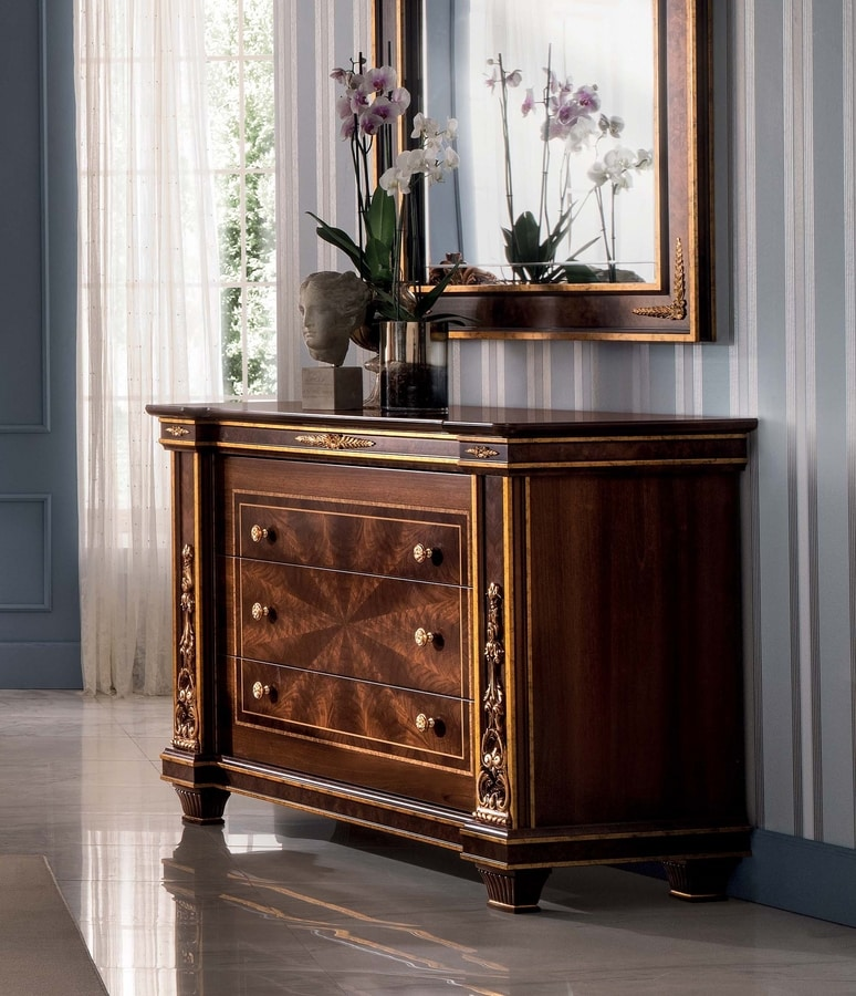 Modigliani chest of drawers, Classic chest of drawers with three drawers