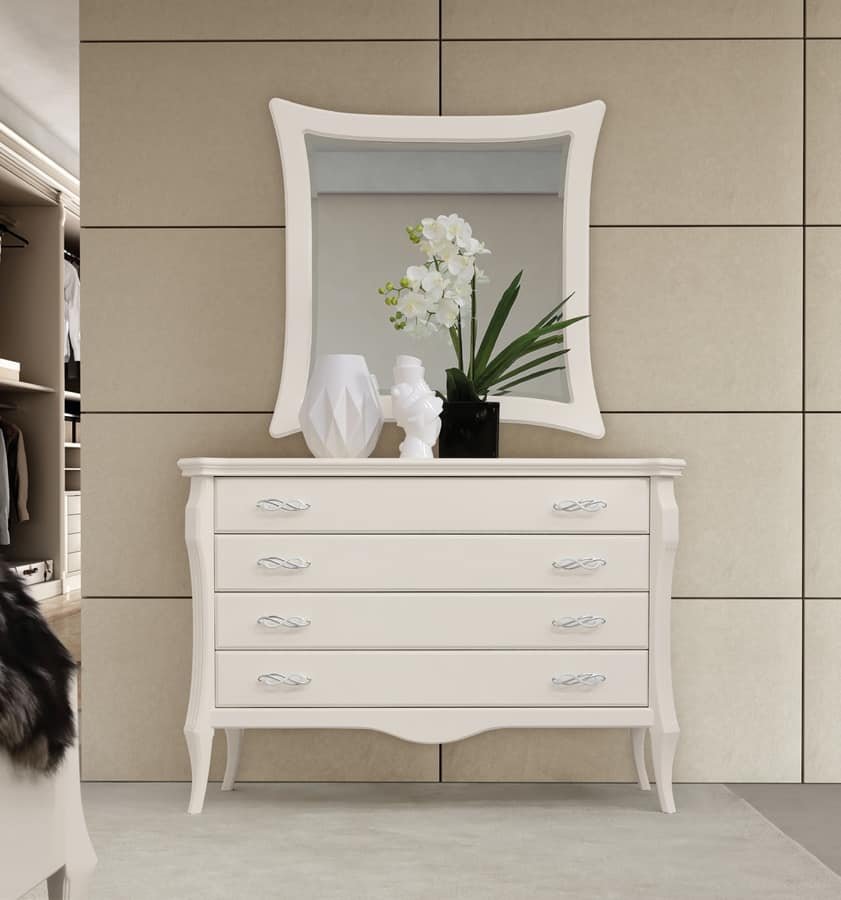 MONTE CARLO / chest of drawers, Chest with four drawers, white lacquered finish