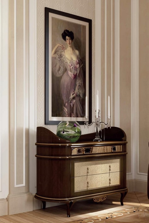 New York commode, Dresser with rounded design, with leather inserts
