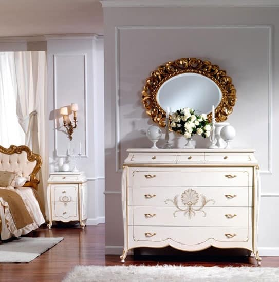 OLIMPIA B / Ivory lacquered chest of drawers, Wooden chest of drawers, classic style, for luxury hotel