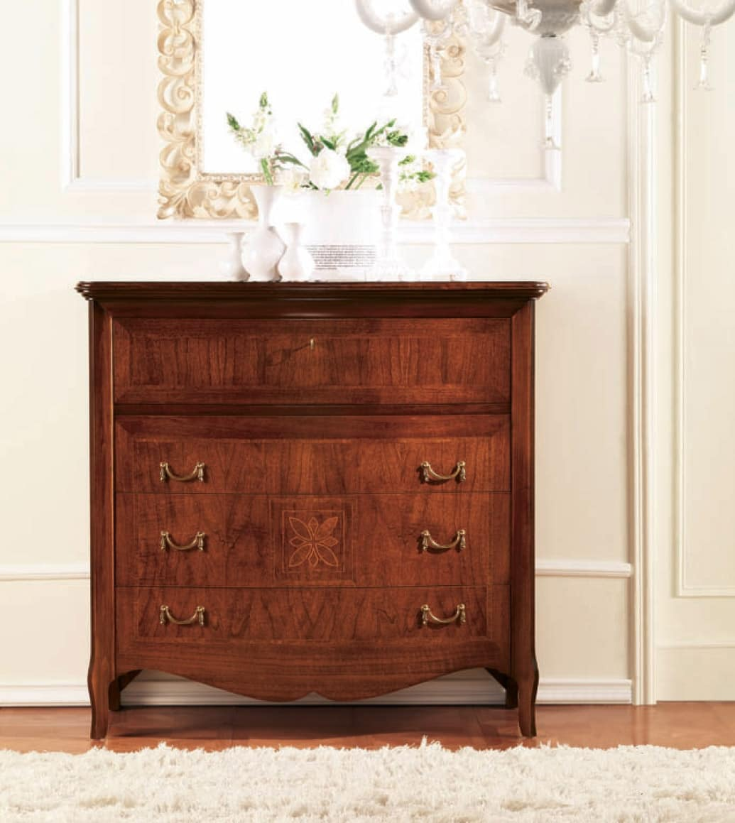 Olympia chest of drawers, Chest of drawers with inlaid stringing, luxury classic