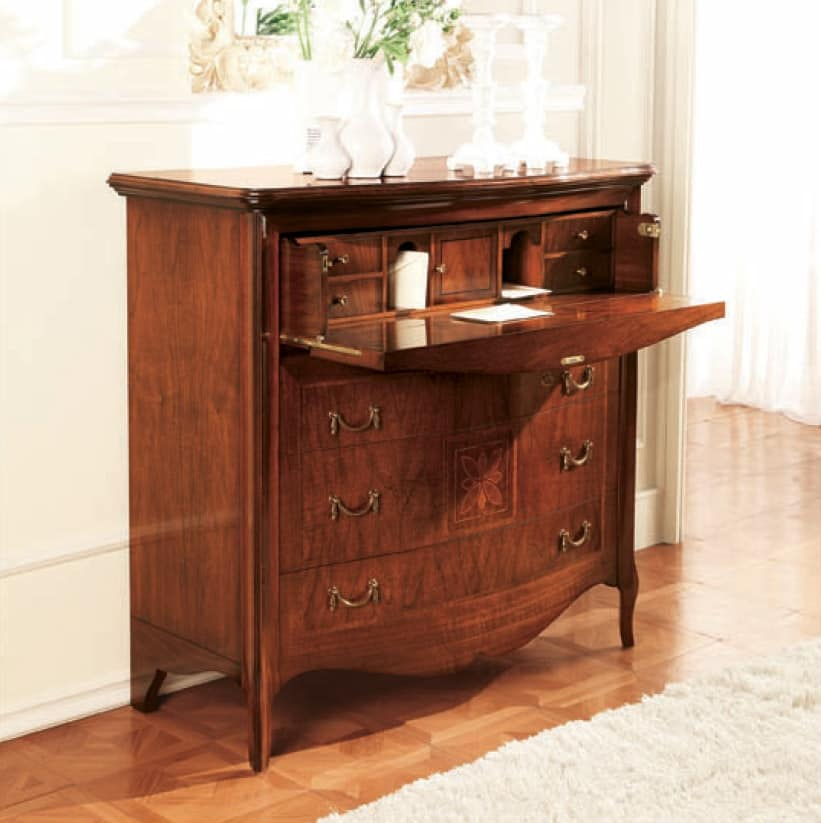 Olympia flap, Chest of drawers with flap door and curved front, inlaid