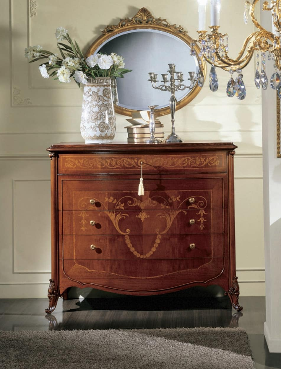 Orchidea comò, Chest of drawers with 5 drawers, hand-carved, floral decorations