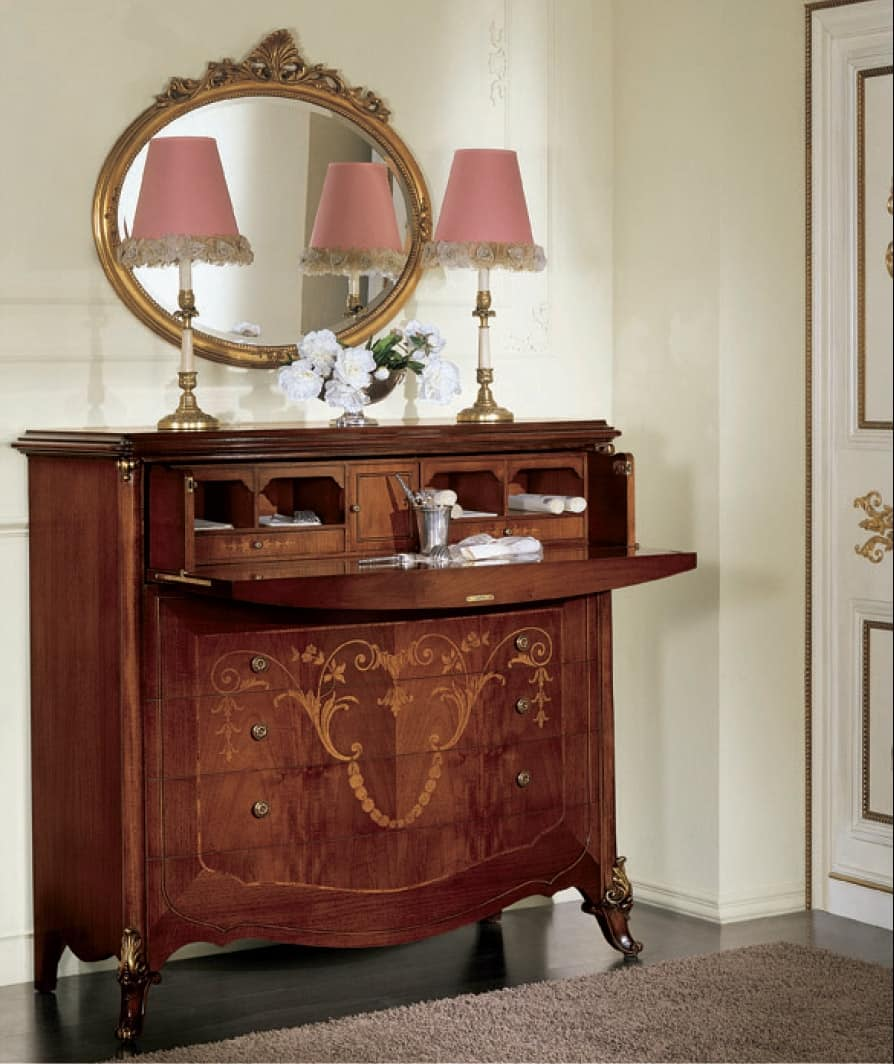 Orchidea ribalta, Chest of drawers with flap, richly inlaid, gold decorations