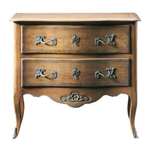 Oscar FA.0070, Transition regional dresser in wood, with small floral decoration under 2 drawers, ideal for bedrooms