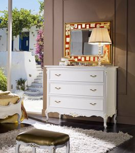 Perla chest of drawers, Elegant white lacquered chest of drawers
