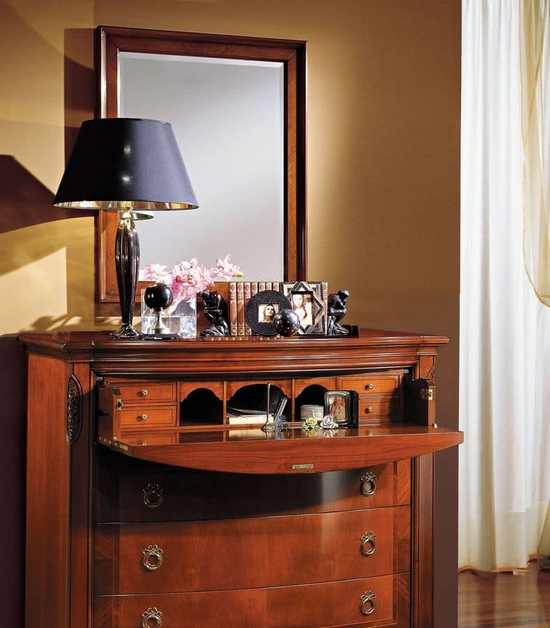 Praga chest of drawers, Walnut chest of drawers suited for bedrooms, with flap door