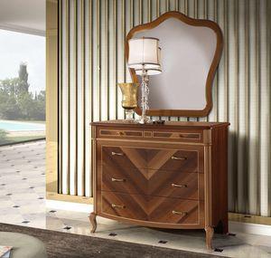 Prestige 2 Art. 4305, Classic chest of drawers, in walnut wood