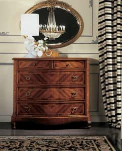 Settecento chest of drawers, Chest of drawers in style '700, with inlaid herringbone