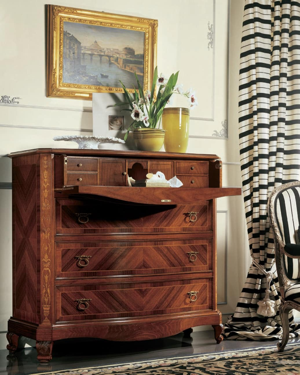 Settecento flap, Chest of drawer with flap door, in carved and inlaid walnut