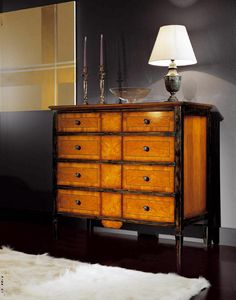 Sinfonia black lacquered walnut chest of drawers, Directory style chest of drawers