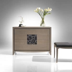 ST 732, Ash chest of drawers, with insert in embroidered leather