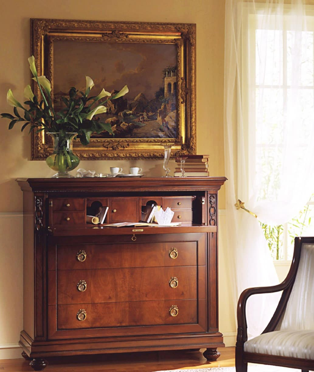 Voltaire flap door, Chest of drawers with flap door and 3 drawers