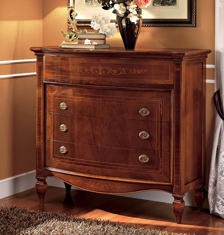 new product ce0da 73cfb Classic luxury chest of 4 drawers in walnut | IDFdesign