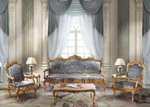 1009, 3 seater sofa in classic luxury style, gold leaf finishes