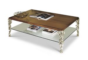 1884/T, Rectangular carved and inlaid small table with glass top