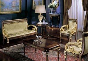 2715 SMALL TABLE LUIGI XVI, Classic round table, top in Carrara marble