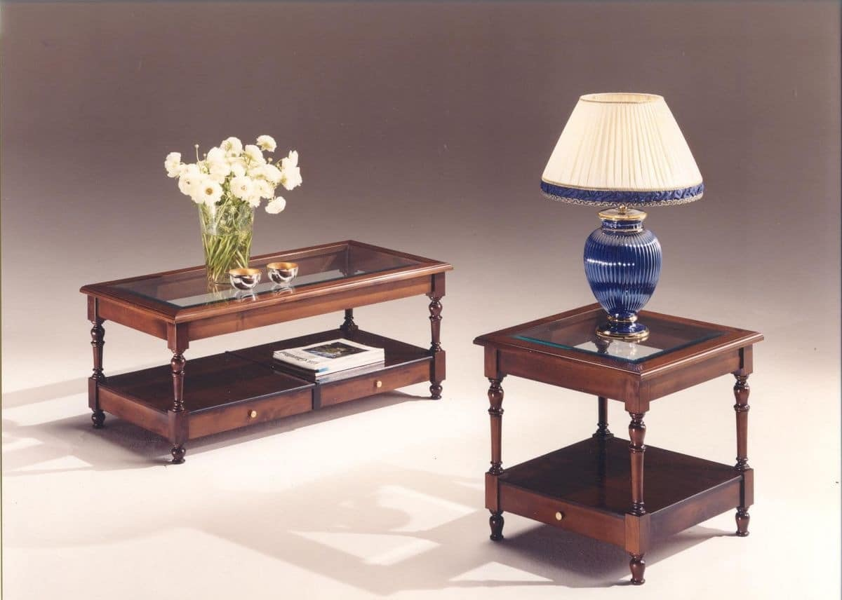 2980 COFFE TABLES, Wooden tables with glass top, classic style