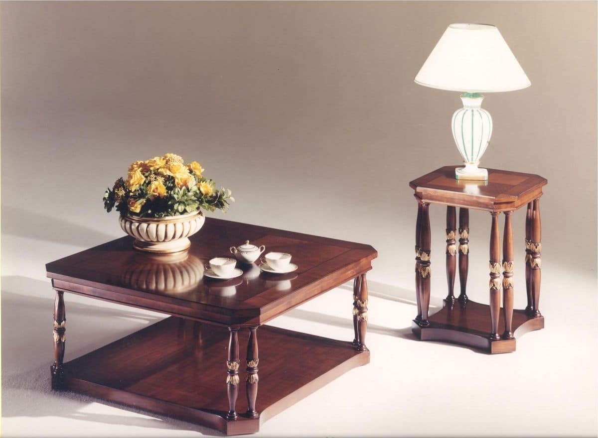 3035 COFFEE TABLES, Square wooden coffee table for classic style living rooms