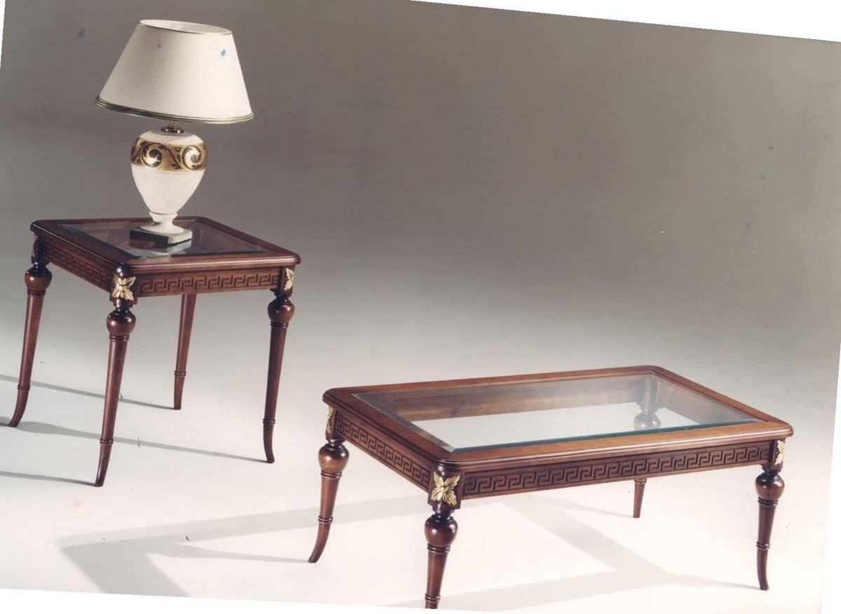 3040 COFFEE TABLES, Rectangular coffee table made of inlaid wood, glass top