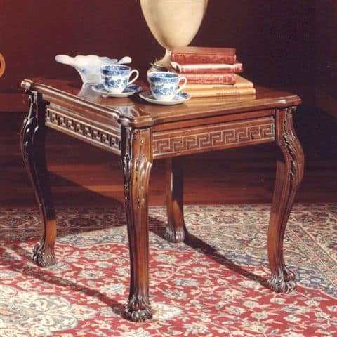 3175 TAVOLINO, Coffee table with square top in carved wood, classic style
