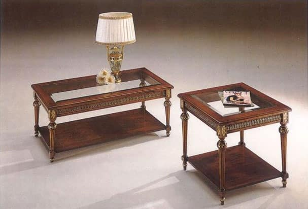 2945 COFFE TABLE, Classic coffee table in wood with glass top