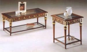 2575 COFFE TABLE, Classic wooden coffee table, glass top