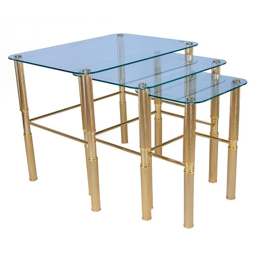 918, Brass coffee tables, with glass top