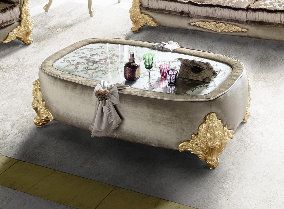 Amina coffee table, Classic padded coffee table