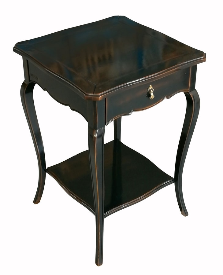 Anselmo FA.0141, Classic wooden table with 2 shelves and 1 drawer