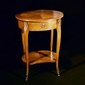 Art. 115/C Ciliegio, Elegant side table with oval top for living room