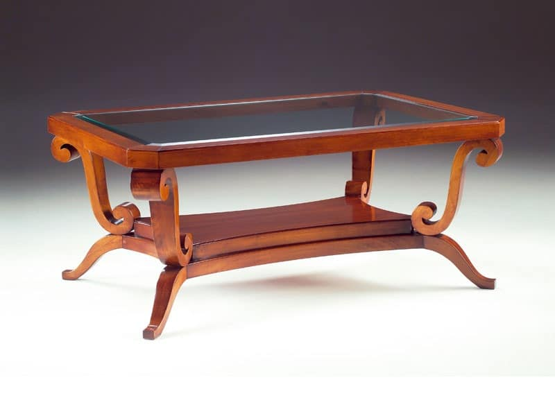 Art. 1385 Arca, Coffee table in wood, glass top, for hotel