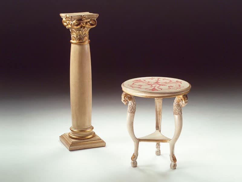 Art. 1460 Rams, Small round table in wood, classic, for living room