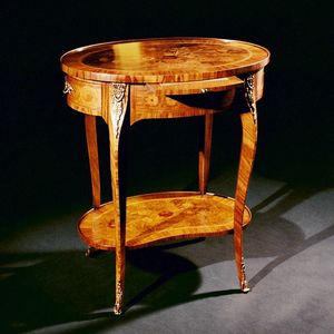 Art. 174 Fiori, Side table with oval top, inlaid