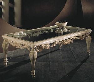 Art. 20517, Carved coffee table, with glass top
