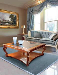 Art. 212, Classic coffee table with glass top