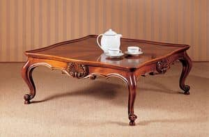 Art. 222/Q, Traditional luxury coffee table, carefully carved, for livingroom