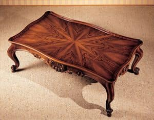 Art. 222/R, Coffee table with inlaid top, classic style, for luxury villas
