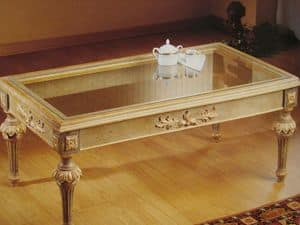 Art. 2223, Rectangular coffee table, richly worked, for living room