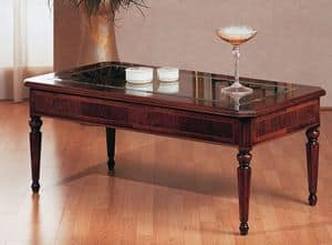 Art. 229, Traditional coffee table, luxury, with glass top, for Villa