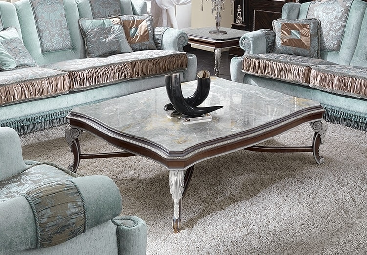 ART. 2948, Rectangular coffee table with marble top